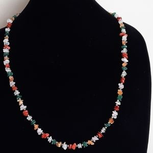 Colourful beaded silver tone necklace